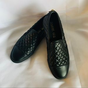 Geox Respira Quilted Black Leather Slip On  Loafer